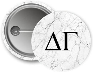 Delta Gamma Sorority Light Marble with Black Letters Pin Back Badge 2.25-inch Button DG