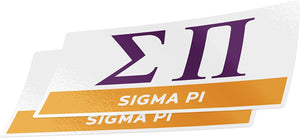 Sigma Pi 2-Pack Decal Greek for Window Laptop Computer Car sig pi (Color/Letter Name Sticker)