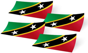 Saint Kitts and Nevis 4 Pack of 4 Inch Wide Country Flag Stickers Decal for Window Laptop Computer Vinyl Car Bumper Scrapbook 4
