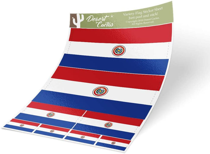 Paraguay Country Flag Sticker Decal Variety Size Pack 8 Total Pieces Kids Logo Scrapbook Car Vinyl Window Bumper Laptop V