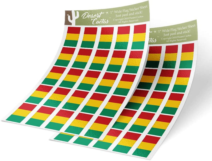 Guinea Country Flag Sticker Decal 1 Inch Rectangle Two Sheets 50 Total Pieces Kids Logo Scrapbook Car Vinyl Window Bumper Laptop Guinean R