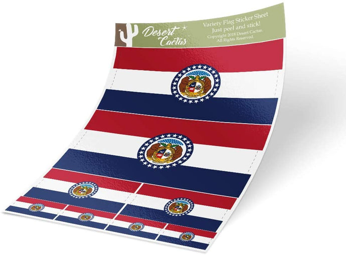 Missouri MO State Flag Sticker Decal Variety Size Pack 8 Total Pieces Kids Logo Scrapbook Car Vinyl Window Bumper Laptop V