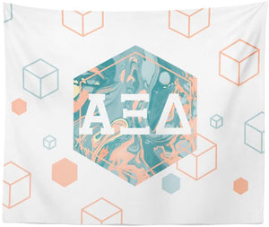 Alpha Xi Delta Sorority 6-Points Marble Dorm Apartment Wall Tapestry 60 Inches x 80 Inches alpha zee