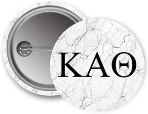 Kappa Alpha Theta Sorority Light Marble with Black Letters Pin Back Badge 2.25-inch Button