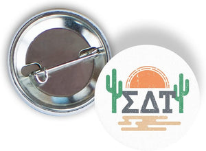 Sigma Delta Tau Sorority Sunset Cactus Pin Back Badge 2.25-inch Button Sig Delt