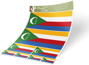 Comoros Country Flag Sticker Decal Variety Size Pack 8 Total Pieces Kids Logo Scrapbook Car Vinyl Window Bumper Laptop V