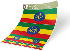 Ethiopia Country Flag Sticker Decal Variety Size Pack 8 Total Pieces Kids Logo Scrapbook Car Vinyl Window Bumper Laptop V