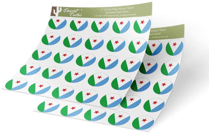 Djibouti Country Flag Sticker Vinyl Decal 1 Inch Round Two Sheets 50 Total Pieces Kids Logo Scrapbook Car Laptop C