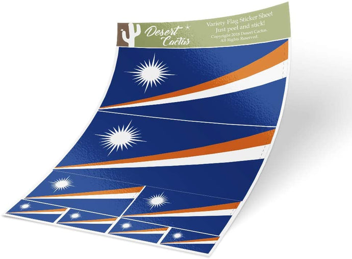 Marshall Islands Country Flag Sticker Decal Variety Size Pack 8 Total Pieces Kids Logo Scrapbook Car Vinyl Window Bumper Laptop V