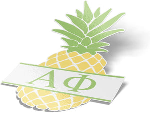 Alpha Phi Pineapple Letter Sticker 4 Inch Tall Sorority Decal Greek for Window Laptop Computer Car A Phi