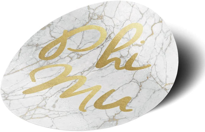 Phi Mu Sorority Light Marble with Gold Script Sticker Decal 3 Inch Greek for Window Laptop Computer Car Officially Licensed