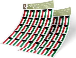 Kuwait Country Flag Sticker Decal 1 Inch Rectangle Two Sheets 50 Total Pieces Kids Logo Scrapbook Car Vinyl Window Bumper Laptop Kuwaiti R
