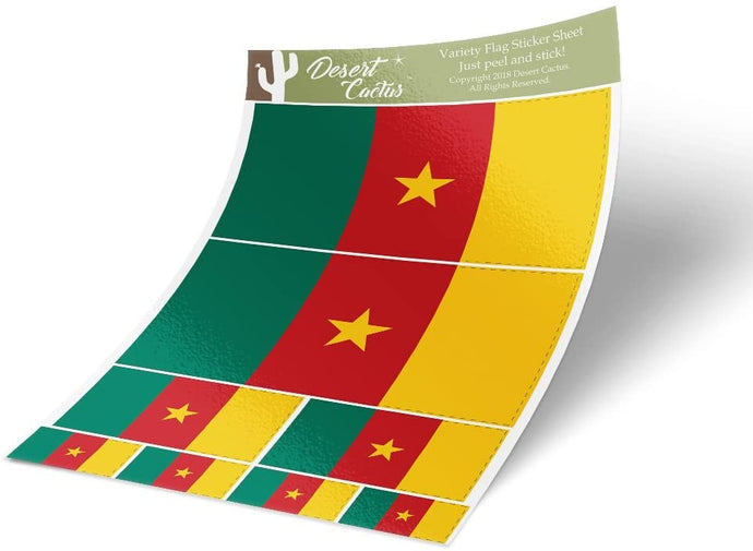 Cameroon Country Flag Sticker Decal Variety Size Pack 8 Total Pieces Kids Logo Scrapbook Car Vinyl Window Bumper Laptop Cameroonian V