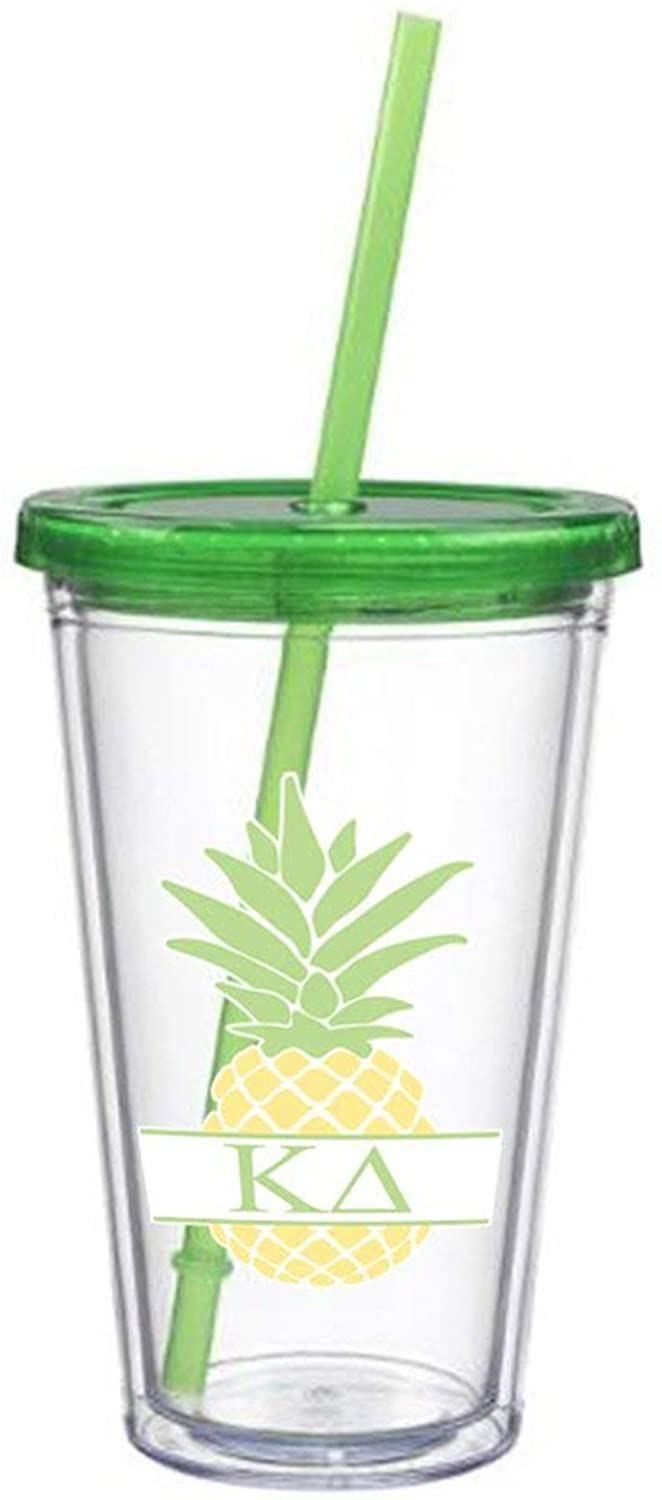 Kappa Delta Letter Pineapple Sticker on plastic Tumbler Greek Sorority Decal 16 oz. BPA Free KD