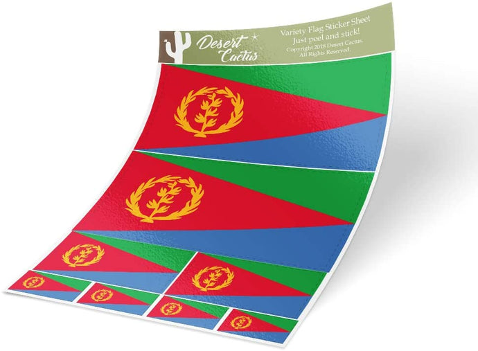 Eritrea Country Flag Sticker Decal Variety Size Pack 8 Total Pieces Kids Logo Scrapbook Car Vinyl Window Bumper Laptop V