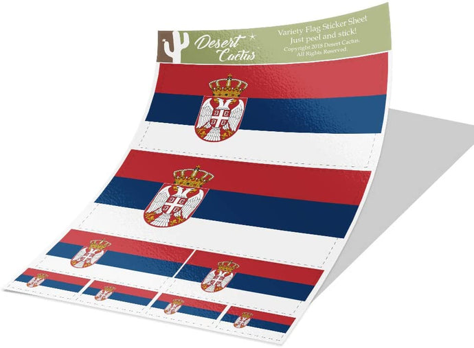 Serbia Country Flag Sticker Decal Variety Size Pack 8 Total Pieces Kids Logo Scrapbook Car Vinyl Window Bumper Laptop V