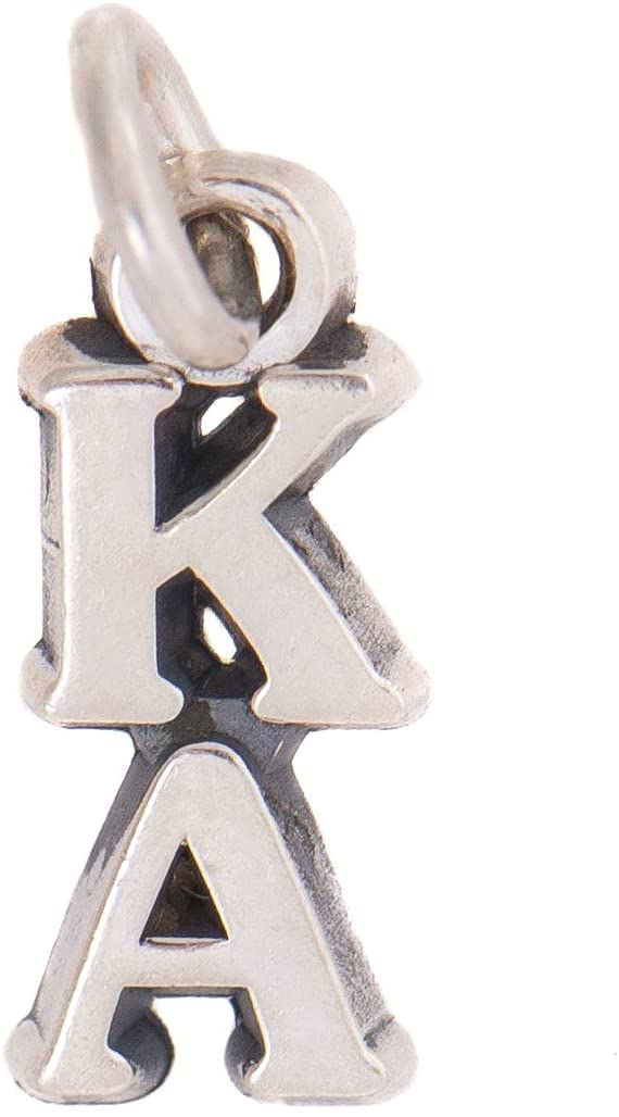 Kappa Alpha Order Fraternity Letter Sterling Silver or 14k Gold Lavalier Necklace with Chain KA (Silver)