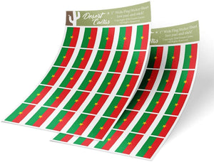 Burkina Faso Country Flag Sticker Decal 1 Inch Rectangle Two Sheets 50 Total Pieces Kids Logo Scrapbook Car Vinyl Window Bumper Laptop R