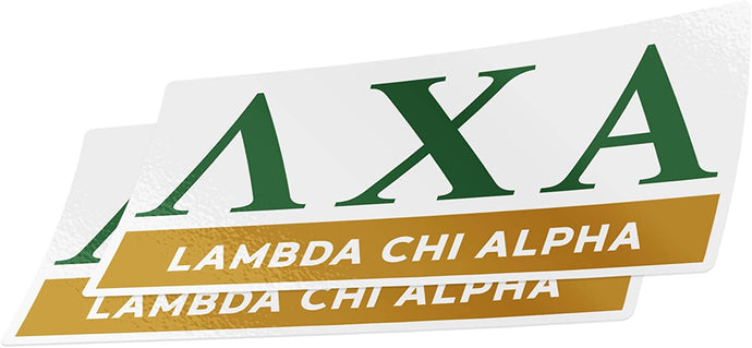 Lambda Chi Alpha 2-Pack Decal Greek for Window Laptop Computer Car Lambda Chi (Color/Letter Name Sticker)