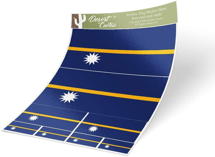 Nauru Country Flag Sticker Decal Variety Size Pack 8 Total Pieces Kids Logo Scrapbook Car Vinyl Window Bumper Laptop V