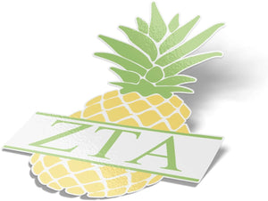 Zeta Tau Alpha ZTA Pineapple Letter Sticker 4 Inch Tall Sorority Decal Greek for Window Laptop Computer Car zeta