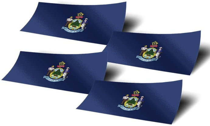 Maine ME 4 Pack of 4 Inch Wide State Flag Stickers Decal for Window Laptop Computer Vinyl Car Bumper Scrapbook 4