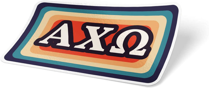 Alpha Chi Omega 70's Sticker Decal Greek for Window Laptop Computer Car Alpha Chi AXO (Design 4)