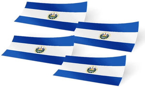 El Salvador 4 Pack of 4 Inch Wide Country Flag Stickers Decal for Window Laptop Computer Vinyl Car Bumper Scrapbook 4