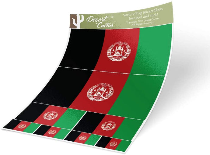 Afghanistan Country Flag Sticker Decal Variety Size Pack 8 Total Pieces Kids Logo Scrapbook Car Vinyl Window Bumper Laptop Afghan V