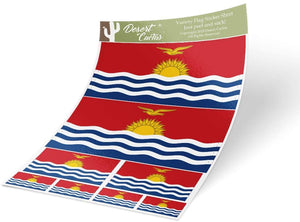 Kiribati Country Flag Sticker Decal Variety Size Pack 8 Total Pieces Kids Logo Scrapbook Car Vinyl Window Bumper Laptop V