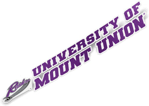 University of Mount Union Purple Raiders NCAA Name Logo Vinyl Decal Laptop Water Bottle Car Scrapbook (8 Inch Sticker)