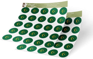 Mauritania Country Flag Sticker Vinyl Decal 1 Inch Round Two Sheets 50 Total Pieces Kids Logo Scrapbook Car Laptop Mauritanian C