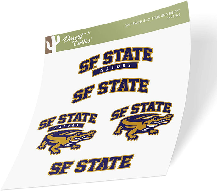 San Francisco State University SFSU Gators NCAA Sticker Vinyl Decal Laptop Water Bottle Car Scrapbook (Type 2 Sheet)