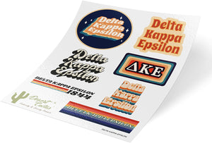 Delta Kappa Epsilon 70's Themed Sticker Sheet Decal Laptop Water Bottle Car DKE (70's Sheet)