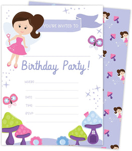 Fairy 1 Happy Birthday Invitations Invite Cards (25 Count) With Envelopes and Seal Stickers Vinyl Girls Kids Party (25ct)
