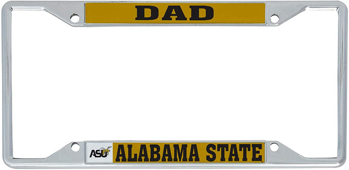 Alabama State University ASU ALASU Hornets HBCU NCAA Metal License Plate Frame For Front Back of Car Officially Licensed (Dad)