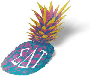Sigma Delta Tau Sorority Decal Pop Art Pineapple Letter Exclusively Designed 5 Inch Greek Window Laptop Computer Car Sticker Sig Delt