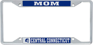 Central Connecticut State University CCSU Blue Devils NCAA Metal License Plate Frame For Front Back of Car Officially Licensed (Mom)