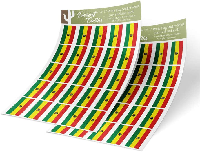 Bolivia Country Flag Sticker Decal 1 Inch Rectangle Two Sheets 50 Total Pieces Kids Logo Scrapbook Car Vinyl Window Bumper Laptop Bolivian R