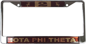 Iota Phi Theta Fraternity Line Number # Metal License Plate Frame For Front Back of Car iota (#2 License Plate Frame)