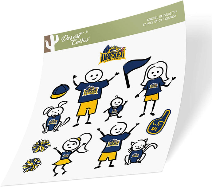 Drexel University Dragons NCAA Sticker Vinyl Decal Laptop Water Bottle Car Scrapbook (Full Sheet Stick Figure)