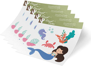 Mermaid 5-Pack Themed Sheets of Stickers 6.5 inch x 7.5 inch Birthday Party Favors Supplies Decals Boy Girl