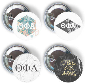 Theta Phi Alpha Sorority 4 Pieces of Variety Buttons Pin Back Badge 2.25-inch theta phi - Marble Pack