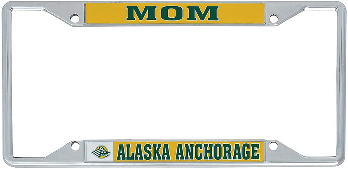 University of Alaska Anchorage UAA Seawolves NCAA Metal License Plate Frame For Front Back of Car Officially Licensed (Mom)