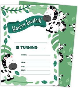 Zebra 2 Invitations (25 ct.) Invite Cards Happy Birthday Invitations Invite Cards With Envelopes and Seal Stickers Vinyl Girls Boys Kids Party (25ct)