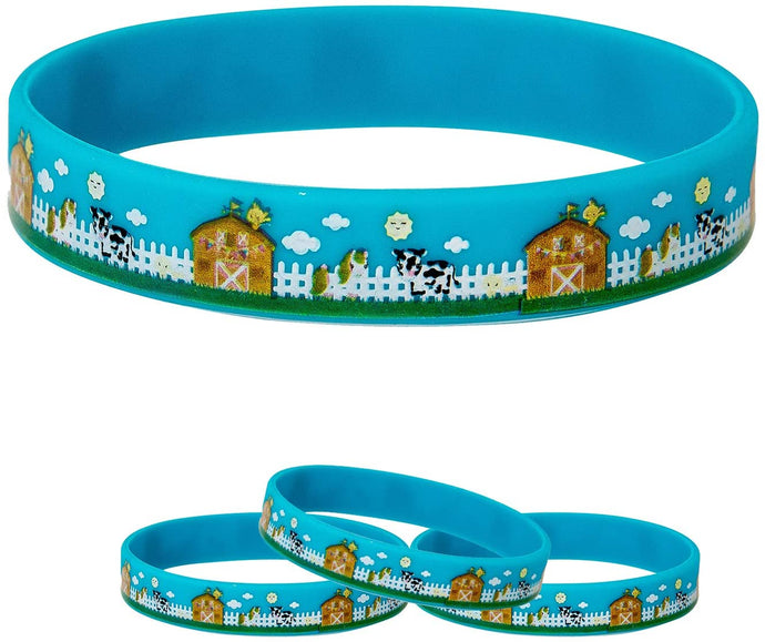 Barnyard Silicone Bracelet 4-Pack Birthday Party Favors Supplies Kids Boy Girl (4-Pack)