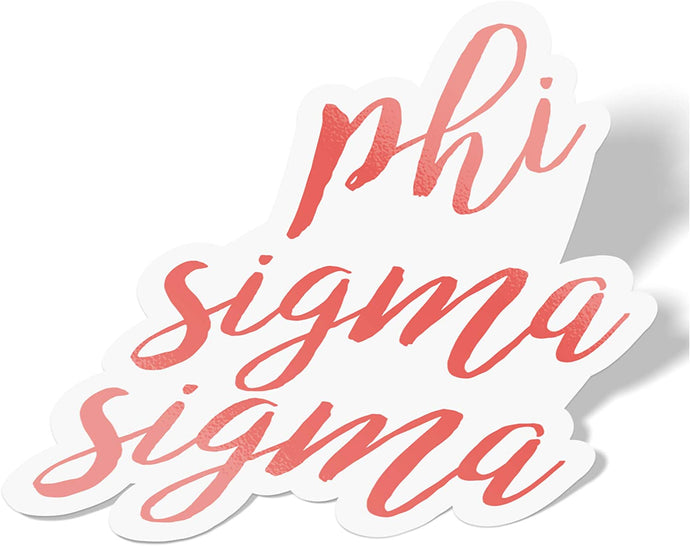 Phi Sigma Sigma Cursive Word Sticker Decal Greek for Window Laptop Computer Car (Coral)
