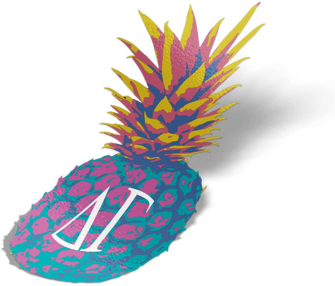 Delta Gamma Pop Art Pineapple Sticker 5 Inch Tall Sorority Decal Greek Letter for Window Laptop Computer Car dg
