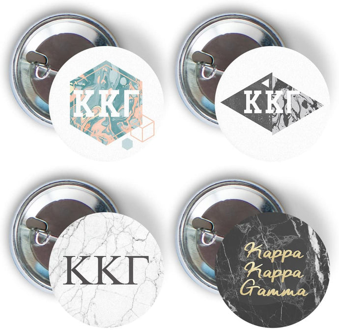 Kappa Kappa Gamma Sorority 4 Pieces of Variety Buttons Pin Back Badge 2.25-inch KKG - Marble Pack
