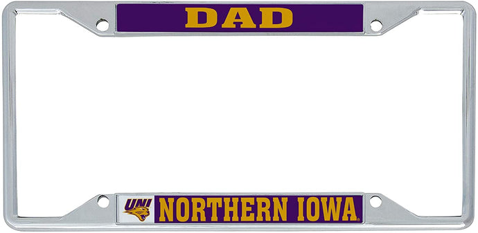 University of Northern Iowa UNI Panthers NCAA Metal License Plate Frame For Front Back of Car Officially Licensed (Dad)
